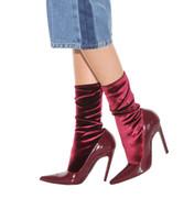 burgundy lacklederstiefel großhandel-2018 neue Mode rotwein Burgunder lackleder socken stiefel mischen farben elastische kraft stiefeletten frauen party halbe stiefel kostenloser versand