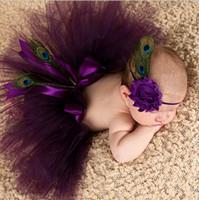 фиолетовые полосы для волос оптовых-Детская повязка на голову фиолетовый цветок павлинье перо малыша лента для волос костюм Европа и Америка детские аксессуары для волос