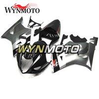 motocicletas gsxr plásticos venda por atacado-Injeção de plástico ABS Motocicleta Carenagens Para Suzuki GSXR1000 K3 2003 2004 03 04 Gsxr 1000 Gloss Preto Prata Kits capas de cascos
