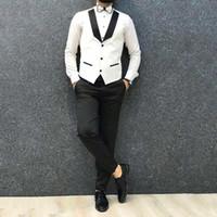 chaleco marfil al por mayor-Hombres del verano del chaleco de Marfil Trajes de boda smoking del novio Hombre blazer negro pantalones de los padrinos de la chaqueta trajes de hombre Terno Masculino 2Piece