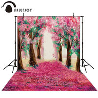 фото фото оптовых-Allenjoy backdrop for photography red flowers alley trees romantic oil painting backgrounds photocall photobooth photo studio