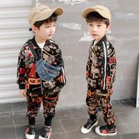 ingrosso ragazzi giacche di moda-2019 Primavera bambini vestiti firmati ragazzi Set di abbigliamento ragazzi tuta Giacca moda cappotto + pantaloni bambini tuta per bambini Bambini Outfits A3337