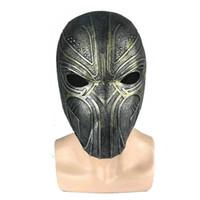 máscaras de super-heróis negros venda por atacado-Mais novo endgame superhero preto pantera máscaras Naturel látex adulto rosto completo capacete máscara de Bronze Cosplay adereços