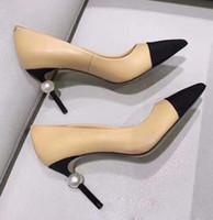 бежевая женская обувь оптовых-Оригинальные туфли на шпильках Дизайнерские Женские Козлиные туфли из натуральной кожи Кожаные жемчужные туфли на каблуках ПР Классическая обувь Леди Бежевый Белый Черный Одиночные туфли