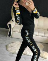 zweiteilige strickjacke großhandel-Mode Frauen Jacken + Hosen Sportanzug Frauen Hoodie Reißverschluss Strickjacke Hosen Anzüge Designer Trainingsanzug Zweiteilige Setwo Kleidung Sets