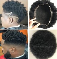 Wholesale human hair kinky curl wigs resale online - Full Lace Men Toupee Black Color Kinky Curl Men s Toupee Brazilian Human Hair Kinky Curl Hair Replacement for Men