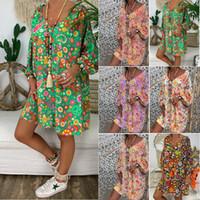 ingrosso più donne che abbelliscono stile boemo-Estate V Neck stampato Flora Bohemian Abbigliamento donna Dreses Plus Size 5XL Women Shirt Dress Loose Style BZ8099