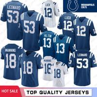 xxl 18 quente venda por atacado-53 Darius Leonard Jerseys 2019 Indianápolis 12 Andrew Luck Colts 18 Peyton Manning 13 T.Y. Hilton Royal Player Jogo Jerseys Venda Quente