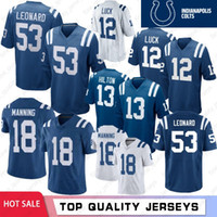 xxl 18 heiß großhandel-53 Darius Leonard Trikots 2019 Indianapolis 12 Andrew Luck Colts 18 Peyton Manning 13 T.Y. Hilton Royal Player Spieltrikots Hot Sale