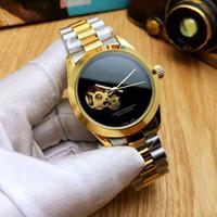 механические механические часы с маховиком оптовых-Горячие роскошные мужские часы Top brand механический автоматический маховик золото 39 мм циферблат полный нержавеющая сталь группа часы для мужчин лучший подарок relogios