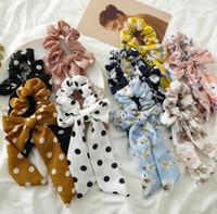 accesorios para coletas al por mayor-INS Spring Summer Bright Rose Floral Hair Scrunchies Accesorios para mujeres Bandas para el cabello Corbatas Cola de caballo Titular Cuerda de goma Decoración Bowknot largo B