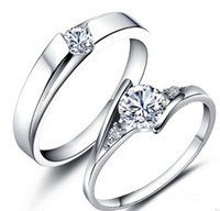 verlobungshochzeit ringe größe großhandel-1 Paar = 1Männer + 1Frauen Größe Freie Anpassung 20 Art-Art- und Weisepaarringe für Verlobungs-Hochzeitsringe Zirkonhochzeits-Jahrestags-Geschenksilber