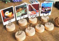 tarjetero de madera al por mayor-Creativo redondo / cuadrado de madera Clip de foto Memo Tarjeta de nombre Soporte colgante Nota Artículos Marco de foto Número de tabla Soporte de foto