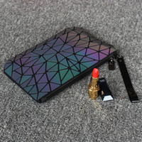 Wholesale ladies travel cosmetic bag case resale online - Luminous Cosmetic Bag Geometic Organizer Bag Makeup Folding Travel Make Up Bags Cases For Ladies Clutch Toiletry Pouch