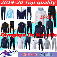 takım elbise ceketi hoodie toptan satış-eşofman Survetement 18 19 20 PAYET THAUVIN OM kapüşonlu Futbol ceket koşu antrenmanı takım elbise 2019 2020 Olimpik Marsilya Kapşonlu ceket