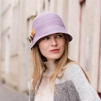 ingrosso cappelli da donna di lana delle donne-Elegant Women 100 Wool Felt Cloche Hat for Winter Dress