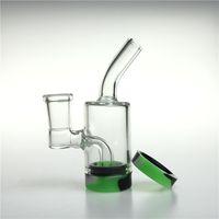 ingrosso fondo del contenitore-Nuovo bong di vetro femminile da 4 pollici da 14 mm con contenitore in silicone da 10 ml di recupero Recipiente di vetro riciclato di acqua riciclata inebriante