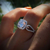 doğal beyaz safir değerli taşlar toptan satış-Lüks beyaz altın dolgulu 925 ayar gümüş doğal taşlar safir prenses yüzük romantik düğün birthstone gelin nişan hediye