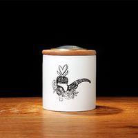 Wholesale bean tea resale online - Tempered Ceramic humidor jar Natural European beech wood Lid for Cigar Taobacco Coffee bean Tea Candy