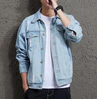 bahar ceketi bombacı erkekleri toptan satış-2019 Pamuk Katı Denim Ceket Erkek Bahar Sonbahar Rahat Slim Fit Bombacı Ceketler Erkek Delik Jean Ceket Erkek Dış Giyim Erkek kovboy