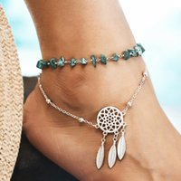 Wholesale dream stone resale online - Bohemia Beaded Anklets Feather Dream Catcher for Women Multi Layer Handmade Stone Foot Anklet Chain Bracelet Beach Boho Jewelry