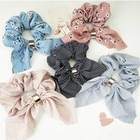 Wholesale hair styles for flower girls online - Striped printes bow hair band women girls hairband flower headband hair accessories for differente styles