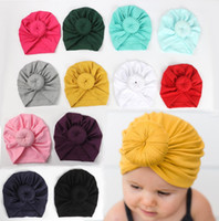 Wholesale bandanas infants resale online - Baby Girls Knot Ball Bohemia Donut Baby Hat Newborn Elastic Cotton Beanie Cap Multi color Infant Turban Hats baby headbands