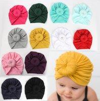 bebekler tüy baş bantları toptan satış-Bebek Kız Düğüm Topu Bohemia Çörek Bebek Şapka Yenidoğan Elastik Pamuk Bere Kap Çok renkli Bebek Türban Şapkalar bebek bantlar