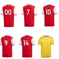 желтые вентиляторы оптовых-19 20 стрелков футбольные майки красные футбольные майки желтый camisetas de futbol дома в гостях поклонники топы с коротким рукавом униформа на заказ любое имя номер
