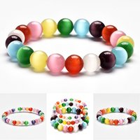 Wholesale women accessories for sale - 6mm mm mm Rainbow Cat Eye Stone Opal Bead Rainbow Simple Natural Stone Bracelet Bead Bracelets Bangles For Women Party Accessories M199R