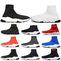 chaussures pour hommes chaussures de marque achat en gros de-Designer Speed Trainer Marque De Luxe Chaussures noir blanc rouge plat Chaussettes De Mode Bottes Baskets Mode Baskets Runner taille 36-45