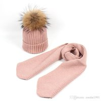 Wholesale newborn gift sets for girls for sale - Children child Baby cap hats Scarves Suit Winter wool Raccoon Ball Real Fur Pompom Hat Scarf set Outdoor For Gifts colors