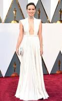 ingrosso velluto in avorio-2019 Olivia Wilde Ivory Sexy Celebrity Party Dresses Oscar Gold Award con pieghe drappeggiate una linea floor-lunghezza abito da ballo formale abiti da sera