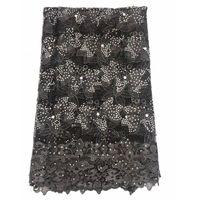 ingrosso pizzo nero del guipure nero del tessuto-New Black pizzo ricamato francese di alta qualità perline abito da sposa in pizzo guipure tessuto di pizzo tulle africano A1466