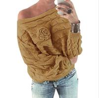 suéteres hechos a mano de las mujeres al por mayor-desgaste 2018 nueva flor hecha a mano de la mujer ocasional de la mujer fuera del hombro suéter femenino de gran tamaño suéter de manga murciélago