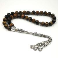 азиатские этнические украшения оптовых-Natural stone Tasbih Tiger eyes prayer  33 66 99 stone Rosary