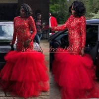 Wholesale african prom dresses for sale - Group buy Charming Sheer Mermaid Evening Dresses Lace Long Sleeve Plus Size African Prom Juniors Gowns Formal Pageant Party Dress Vestido de noche