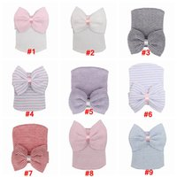 Wholesale crochet beanies hats for girls for sale - Group buy Baby Crochet Bowknot Hats Beanies Cute Baby Girl Soft Knitting Hedging Caps with Big Bows Warm Tire Cotton Cap For Newborn Infant LJJA3340