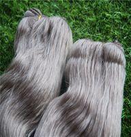 reine graue haareinschlagfaden großhandel-Silberne graue Farbe unverarbeitetes doppeltes einschlagendes peruanisches Körperwelle-Jungfrau-Haar-Verlängerungen 100% menschliches Haar bündelt 10-30 Zoll Remy