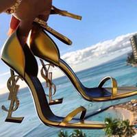 Wholesale new sandals bridal resale online - Gold Wedding Shoes Bridal Shoes Women Designer Sandals Women Pumps New eden heel Gold Ladies Party Shoes In Stock