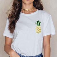 koreanische mode t-shirts großhandel-Mode Ananas Print Kurzarm T-Shirt Frauen Harajuku Ullzang koreanischen Stil T-Shirt Grafik der 90er Jahre T-Shirt New Top Tees weiblich