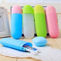 diş fırçası diş macunu fincanları toptan satış-Katı renkler taşınabilir seyahat diş macunu diş fırçası tutucu cap case ev saklama fincan açık tutucu bothroom aksesuarları C6043