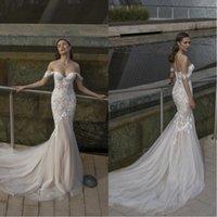 vestido riki dalal venda por atacado-2020 Nova Riki Dalal Off Shoulders Querida Sereia Vestidos de Casamento com Apliques de Renda Branca de Tule Vestido De Noiva De Casamento BC2317