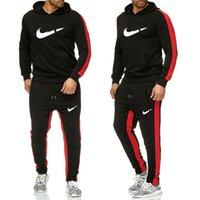 hoodie çizgileri toptan satış-Yeni Eşofman Erkekler Yeni Marka Sonbahar Kış Kapüşonlu Sweatshirt + İpli Pantolon Erkek Şerit Patchwork Hoodies Suit
