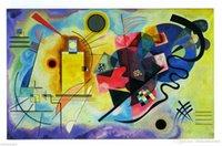 печать на холсте оптовых-Желтый Красный Синий - Кандинский высокого качества расписанную HD печати Fine Art Картина маслом на холсте стены искусства дома Deco G91