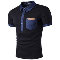 Wholesale black leather shirts for sale - Group buy Summer New Mens Polo Denim Stitching Pocket Leather Standard Lapel Short Sleeved Polo Shirt Black and White