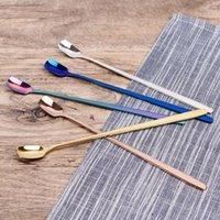 ingrosso maniglie della cucina blu-17 centimetri in acciaio inox cucchiaio di caffè con manico lungo - Oro Blu cucchiaio del gelato cucina colorata di miscelazione Cucchiaio Instagram cucchiaini da tè