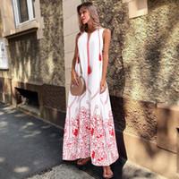 boho saçak elbisesi toptan satış-White Beach Yaz Elbise 2019 Kadınlar Artı boyutu Elbise Bayanlar Fringe Boho Elbise Kolsuz Çiçek Uzun Maxi Elbise 3XL Sundress