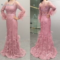 Wholesale feathers evening dress real resale online - 2019 Real Pictures Noble Evening Formal Evening Dresses Lace Mermaid Long Sleeves Feather Prom Party Wear Maxi Gowns