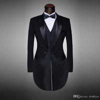 Wholesale blacks tuxedos for sale - Group buy Classic Design Men Black White Wedding Suit Groom Tuxedo Evening Party Costumes Tailcoat pieces Blazer Jacket Pants Belt Tie